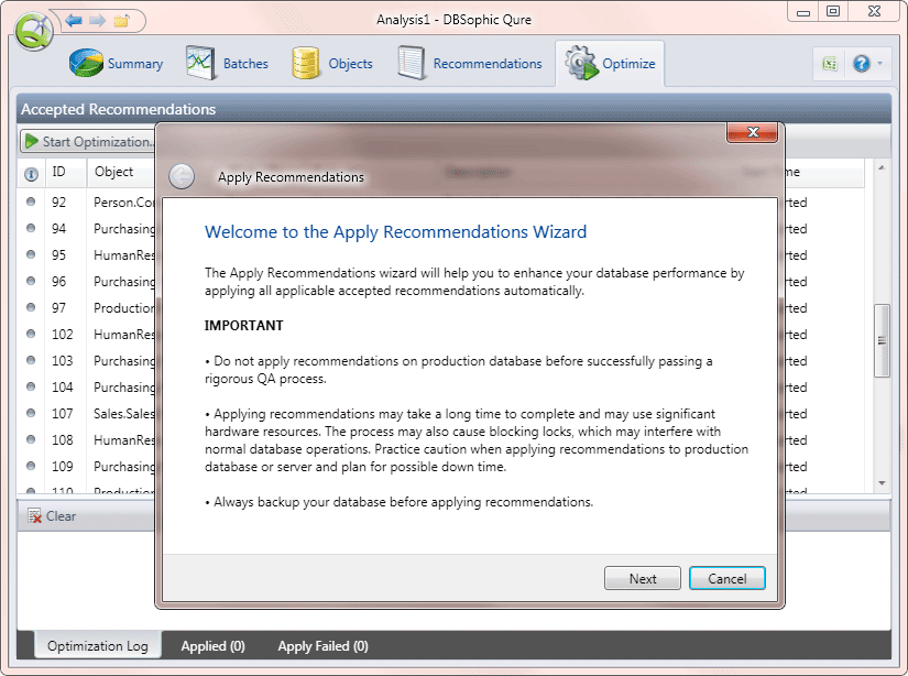 Apply Recommendations Wizard