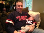 Daddy and Madeline cheering on the Pats