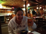 Nicole enjoying bisque & a beer at Ogunquit Lobster Pound