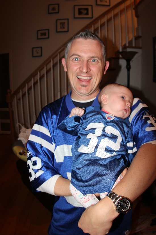 Kirk thinking a Colts jersey is funny